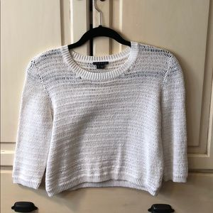 Theory netted white crop sweater